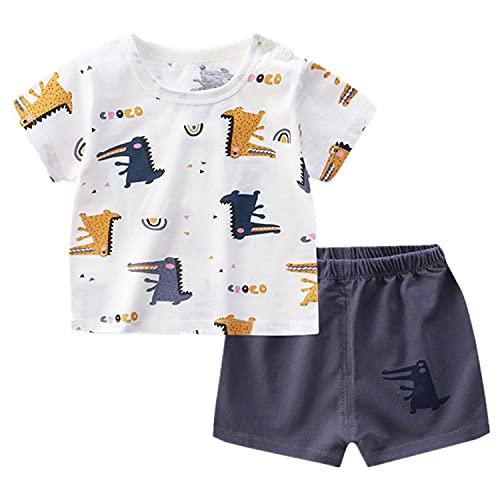 Angel ZYJ Babykleidung Set Jungen Mädchen Baumwolle Kurzarm Cartoon Print T-Shirt + Shorts Sommer-Outfits (2-3 Jahre alt, style 9)