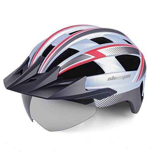 KINGLEAD Fahrradhelm mit Sicherheitslicht und Visier, CE-zertifiziertem, unisexgeschütztem Fahrradhelm für das Radfahren im Freien. Sicherheitssuperleichter, Verstellbarer Fahrradhelm (Weiß grau rot)