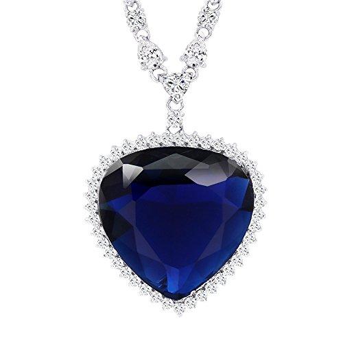 Xuping, bellissima collana alla moda, con grande pendente a forma di cuore color blu oceano. Placcato in oro con zirconia cubica