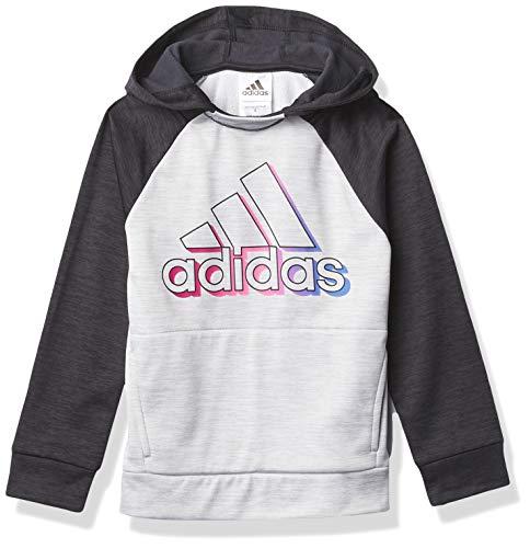 adidas Girls' Fleece Pullover Hooded Raglan Sweatshirt, Event Black Heather, Medium