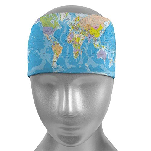 Felsiago - Cinta deportiva para la cabeza para hombre y mujer, Map of The World Non Slip Athletic Sweatband para running, yoga, crossfit, Working Out y baloncesto (Performance Stretch & Moisture Wicking)