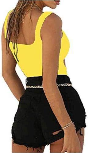 BelleLovin Womens Sexy Cut Out Bodysuits Sleeveless Tops Yellow