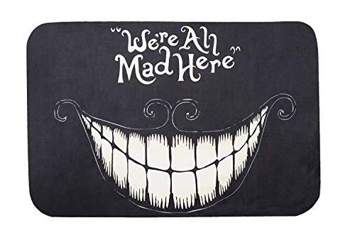 WOOD MEETS COLOR Smiley-Katze Fußmatte Lustige Fußmatten Rutschfeste Fußmatte waschbar Teppich Wohnzimmer Teppich für Küche Badezimmer Home Decor (We\'re All Mad Here 40 x 60 cm)