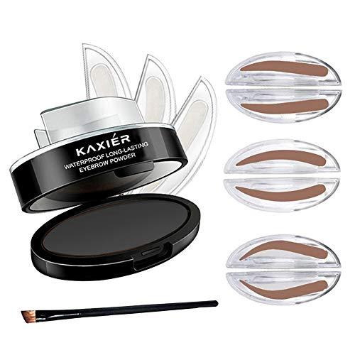 Turelifes 3 paires de joints Timbre EyeBrow étanche avec brosse à sourcils Sourcils parfaits Power One Second Make Up Nature Brow (Gris noir)