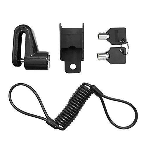 FDKJOK Cerradura de freno de disco de scooter eléctrico, bloqueo de alambre de acero antirrobo para motocicleta y bicicleta con cuerda de recordatorio (negro)