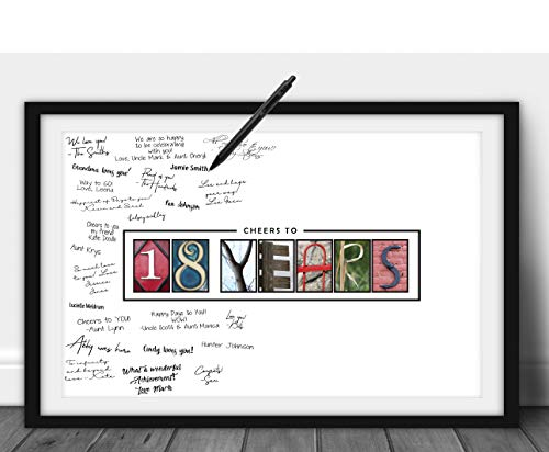 Katie Doodle 18th Birthday Decorations - Creative Guest Book Alternative - 18th Birthday Party Supplies Centerpiece Decor Sign In Card Gifts for Boys Girls - 18 Years Wall Art Poster, 11x17 [Unframed]
