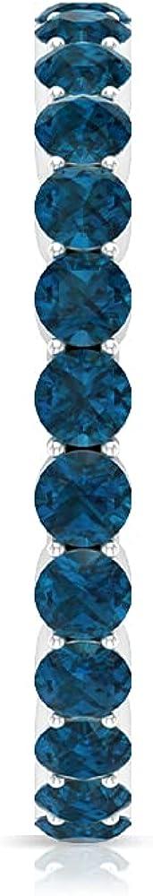 2.25 CT London Blue Topaz Eternity Ring (AAA Quality),14K White Gold,London Blue Topaz,Size:US 6.50
