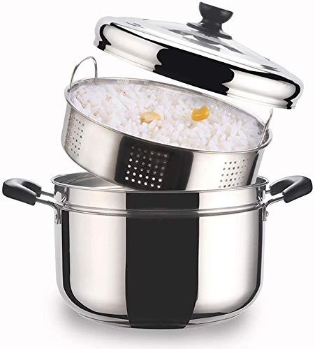 XY-M Pote de Vapor de Vapor de Cacerola Sopa de Acero Inoxidable Olla de cocinar Olla de cocinar Olla de cocción con Tapa para cocinar en la Cocina Single Piso 24 cm