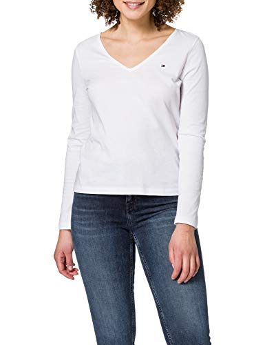 Tommy Hilfiger Regular Classic V-NK Top LS Camiseta sin Mangas para bebés y niños pequeños, Blanco, M para Mujer