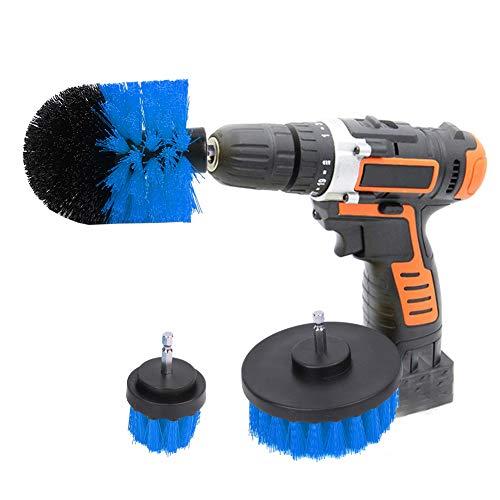 Drill Brush, Plastic Power Scrubber Brush Drill Brush Attachment Kit Tool for Shower Door Rails for Skirting Boards(Blue, Black)