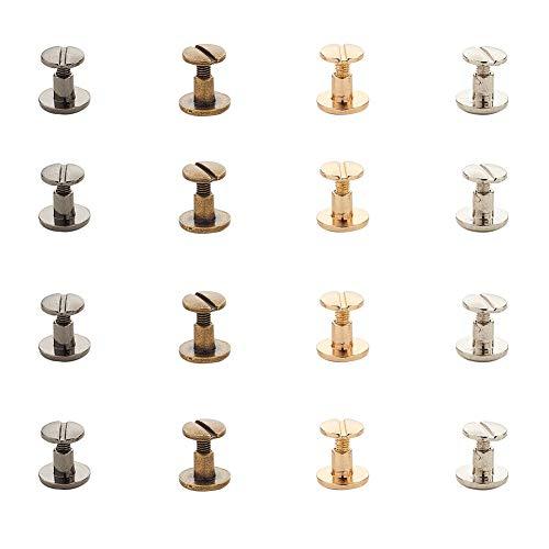 PandaHall 40 Set 4 Borchie Piatte in Lega 4 Colori Rivetti in Metallo Vite Posteriore Spike Vite di Fissaggio per Cintura Borsa Artigianato in Pelle