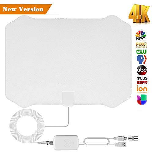 【Updated 2018 Version】 Professional TV Antenna-Indoor Digital HDTV Antenna Amplified 120 Mile Range 4K HD VHF UHF Freeview for Life Local Channels Broadcast for All Types of Home Smart Television