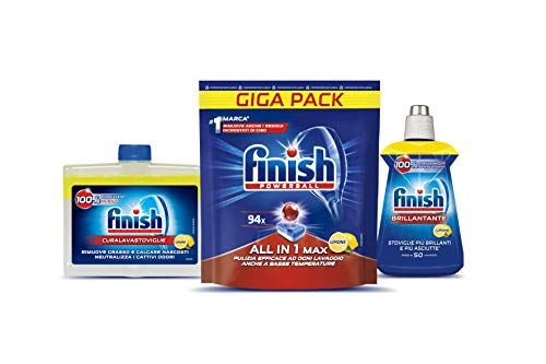 Finish Kit All in 1 Max Pastiglie Lavastoviglie 94 Tabs, Curalavastoviglie, Brillantante