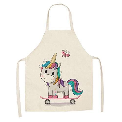 Delantal de cocina para padres e hijos, dibujos animados, unicornio arcoíris, estampado, sin mangas, algodón, lino, delantales para hombres, mujeres, herramientas de limpieza del hogar, tipo 1, adulto