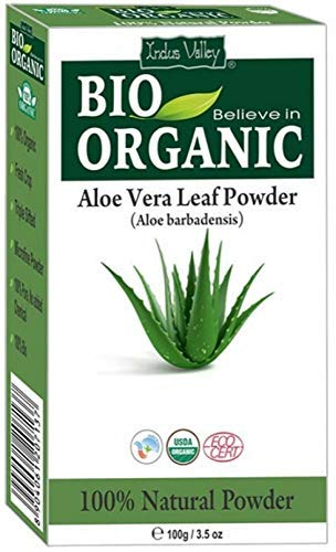 Indus Valley Reines natürliches Bio-Aloe Vera-Pulver enthält Haar- und Hautkräuterbuch in englischer Sprache (100 g Aloe Vera-Blattpulver)