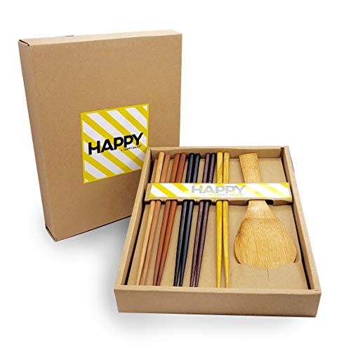 Happy Sales, Bamboo Chopsticks Gift Set Rice Paddle Included (Natural)
