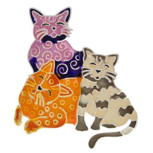 DFHTR Broche De Gato Multicolor Esmaltado para Mujer Gato Lindo Mamá Papá Y Niños Pin Animal Insignia De La Capa del Sombrero 4 Colores