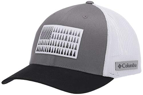 Columbia Men's Mesh Tree Flag Ball Cap, titanium/white/black, Large/X-Large