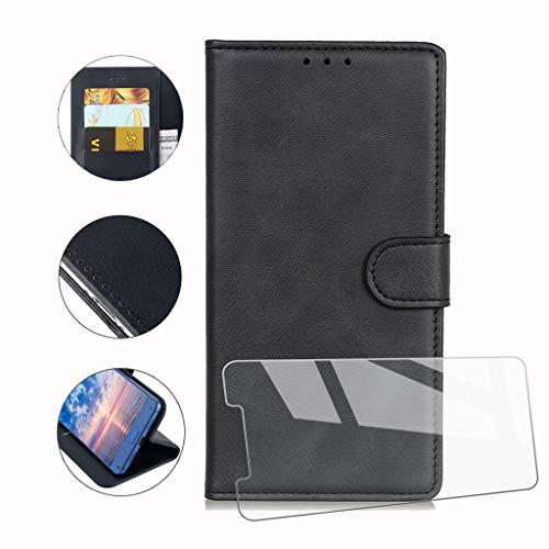 """HYMY Cover per Nokia 3.2 + Vetro Temperato - Nero Semplice PU Pelle + TPU Multifunzione Wallet Slot Custodia Flip Case per Nokia 3.2 2019 (6.26"""")"""