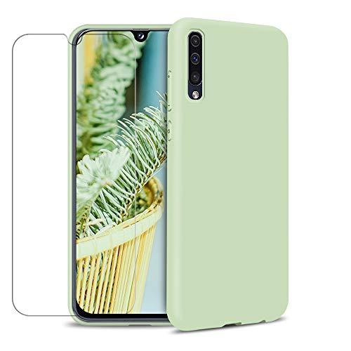 MICASE Funda para Samsung Galaxy A70 + Protector de Pantalla de Vidrio Templado, Carcasa Ultra Fino Suave Flexible Silicona Colores del Caramelo Protectora Caso Anti-rasguños Back Case - Menta Verde