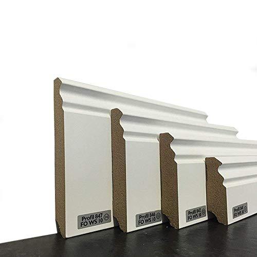 Sockelleisten im Hamburger-Profil | Fußleisten mit MDF Kern in weiß | Wandabschlussleiste mit Kabelkanal | Fußbodenleisten verfügbar in den Maßen 2,40m x 58mm | leicht zu montieren | MADE IN GERMANY