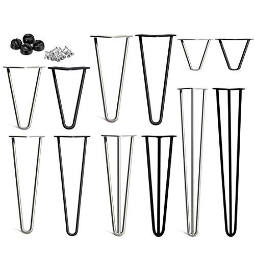 Haarnadel Tischbein, DIY Möbel Metall Tisch Beine perfekt für Schrank, Kleiderschrank, TV-Schränke, Schubladen, Nachttisch Komme Mit Freie Bodenschutzvorrichtungen und Schrauben, Möbelfüße