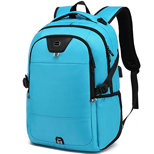 Laptop Backpack Water Resistant Backpacks Durable College Travel Daypack Anti Theft with USB Charging Port for 15.6 Inch Laptops Best Gift for Men Women Boys Girls Students(15.6 Inch, Sky Blue)
