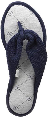Dearfoams DF Womens Textured Knit Thong Slipper, Peacoat, Large Standard US Width US