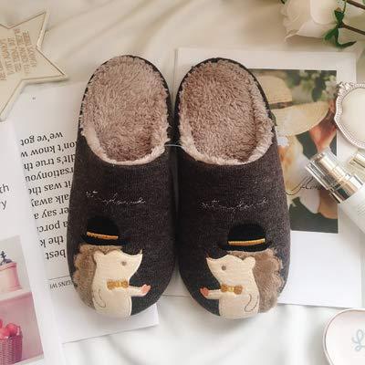 WXMTXLM Lindas estrellas, pequeño erizo, punto algodón, coral, terciopelo, amantes, zapatillas de casa, interiores cálidos de invierno, zapatos de mujer, código XL 42-43 pies, sombrero erizo marrón