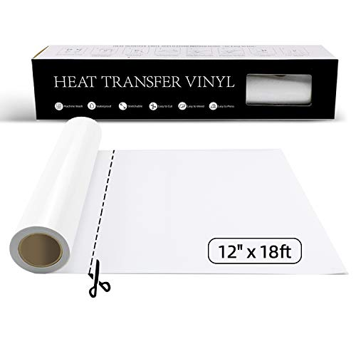 YRYM Heat Transfer Vinyl White HTV Vinyl Roll 12 x 18ft HTV White Iron on Vinyl for Cricut /& Silhouette Cameo Easy to Cut /& Weed White Heat Transfer Vinyl DIY Heat Press Design for T Shirts