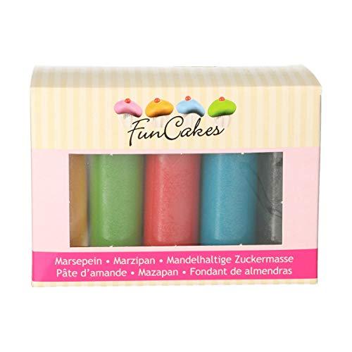 FunCakes Mandelhaltige Zuckermasse Multipack Grundfarben: Gelb, Grün, Rot, Blau und Schwarz, 500 g
