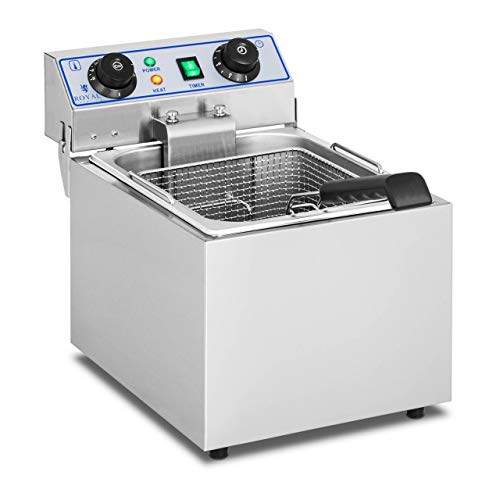 Royal Catering Friteuse Fritteuse (13 L, 3200 W, 230 V, Thermostat 60–200 °C, 42,5 x 29 x 34,5 cm, Timer, Edelstahl, inkl. Korb und Deckel)