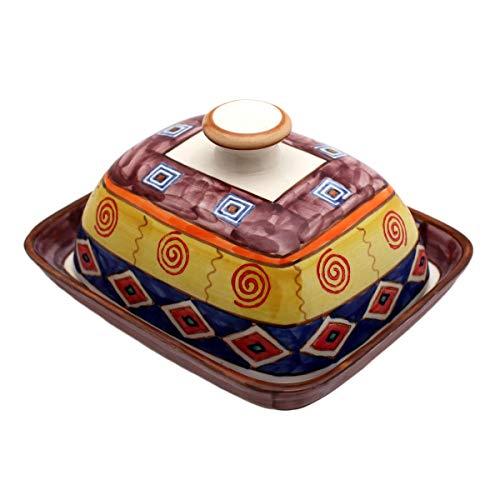 Gall&Zick Beurrier avec couvercle en céramique peinte à la main (Indien).