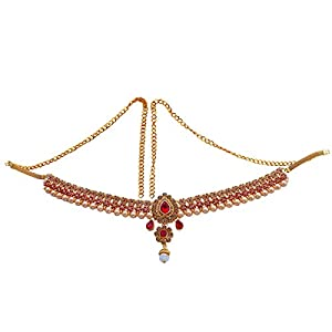 Glorious Red Kundan and Pearl Waist Kamarband for Women and Girls