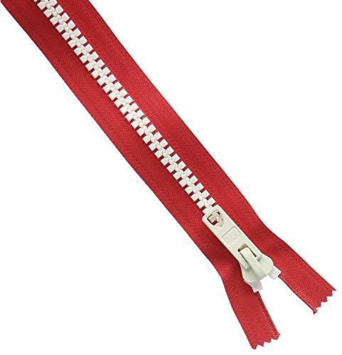 Prym Fermeture Éclair S12 Rouge avec Blanc Chunky Dents Bicolore à Fermeture éclair, en Plastique, Multicolore, 60 cm