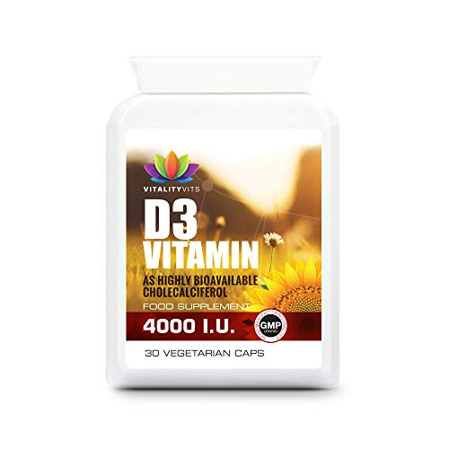 Vitamin D 4000iu - High Strength Sunshine Vitamin - Easy-Swallow One a Day - Support Immune System - Bones and Muscle (30 Capsules)
