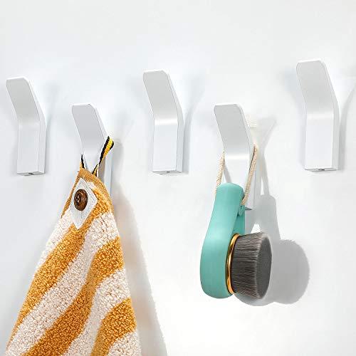 Handtuchhalter ohne bohren, 5 Stück Handtuchhaken Kleiderhaken Wand, Edelstahl Wandhaken Garderobenhaken, Rostfrei Haken Bad Toilette Handtuchhalter Küche Tür Büro Kleiderhaken Weiß