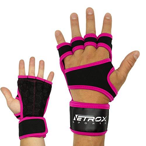 Netrox Fitness Handschuhe mit Handgelenkbandage Handgelenkstütze extra Grip und rutschfest für Herren und Damen in schwarz - Crossfit Krafttraining Kraftsport Bodybuilding Sport Gym Gloves (Rosa, XS)