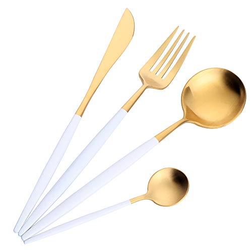 4 Piezas Vajilla Set Blanco+Oro Cuchillería con Pulimento Mate, Bisda 304 Acero Inoxidable Vajilla Servicio para 1