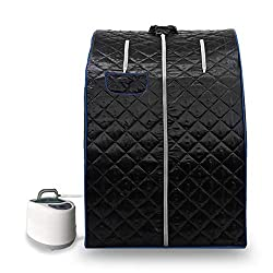 KUPPET 2020's Newest Portable Folding steam Sauna Room 2L Single-use Home Sauna spa, Weight Loss Through Chair, Remote Control, steam Pot, Foot pad, mat (Black)