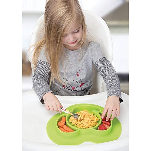 InterDesign IDjr assiette bébé, set de table enfant antidérapant en silicone, assiette ventouse avec motif d'éléphant, vert citron