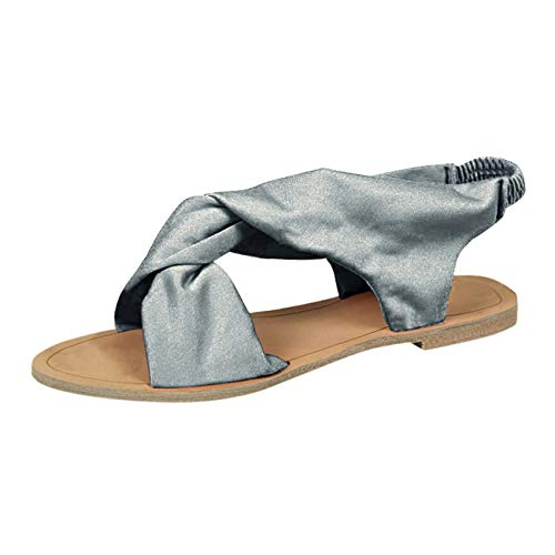 Minetom Sandalen Damen Sommer Sandaletten Flachen Frauen Knöchelriemchen Espadrille Bowknot Flip Flop Römisch Offene Bequeme Elegante Schuhe B Silber 43 EU