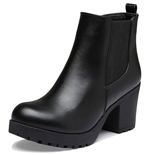 DailyShoes Chelsea Boots Women Elastic Panel Chunky Heel Boot Chunk High Winter Short Toe Slip On Warm Boots Black,p,u,5.5