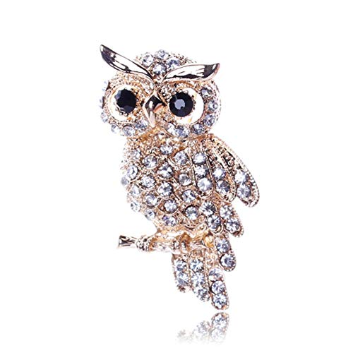 Ancient Women's Men's Owl Korean Alloy Trendy Imitation Rhinestone Blue Brooch Badge Accessories Lapel Pin (Metal color : Gold)