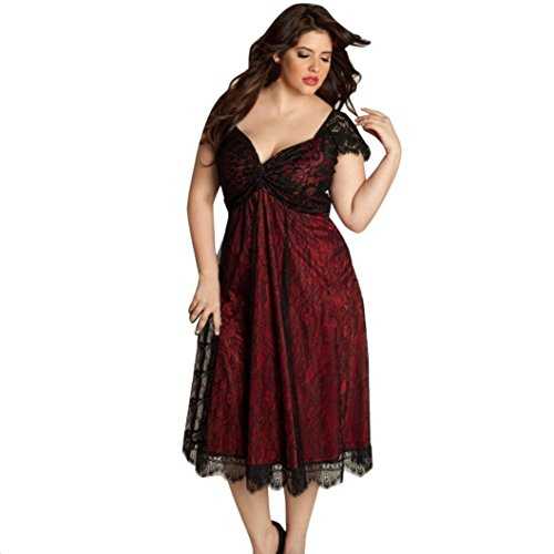 Malltop Women Plus Size Summer Lace Floral Prom Gown Formal Mid-Calf Dress Sleeveless Evening Party Bridesmaid Tunic (3XL, Red)