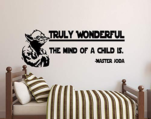 Best Design Amazing Star Wars Wall Decals-Truly Wonderful The Mind of a Child is Decal-Master Yoda-Star Wars Kids Wall Stickers-Wall Decal-Nursery Wall Decor Made in USA!