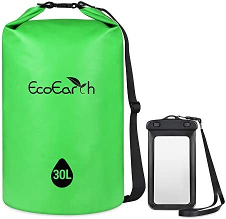 EcoEarth Waterproof Dry Bag 20L Green Roll Top Compression Dry Sack with Waist Straps Keeps product image