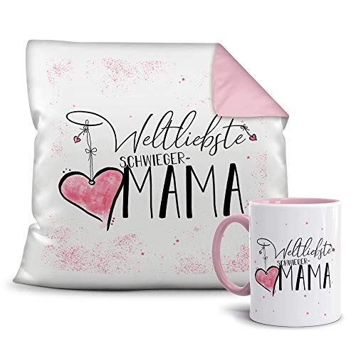 Geschenkset für die Weltliebste Schwiegermama - Tasse und Kissen - Altrosa/Verwandte/Geschenk-Idee/Liebling/Familie