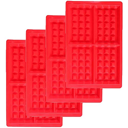 Miotlsy Waffeln Formkuchenform 4 PCS Silikon Backform Kuchenform Eiswürfelform Schokoladen Süßigkeiten Formen Rot Rechteckige