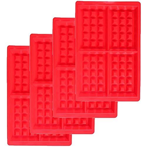 Wenko Lot de 4 moules à gaufres rectangulaires en silicone Rouge